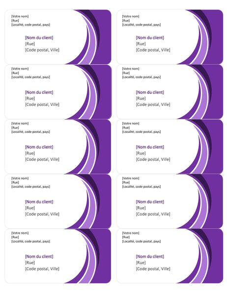 Lila Versandetiketten (10 pro Seite)