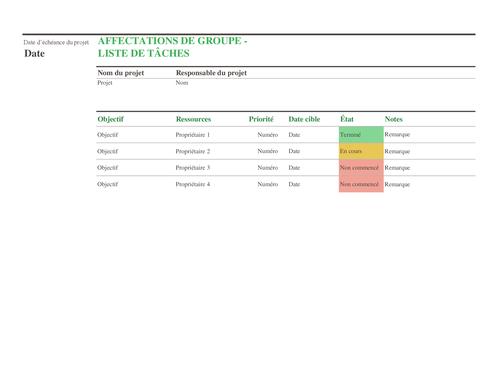 Liste de tâches dédiée aux affectations de groupe