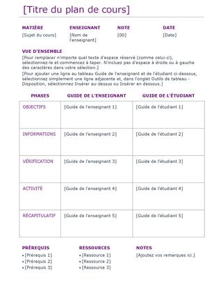 Plan de cours (couleur)