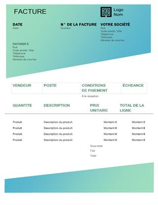 Facture de service (conception avec dégradé de verts)