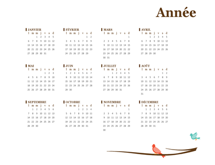 Calendrier annuel2018 (lun-dim)