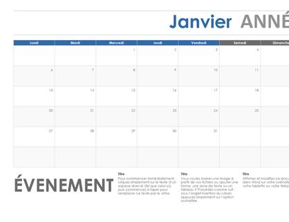Horizontale kalender (begint met maandag)