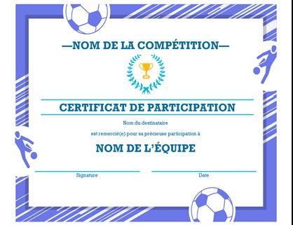 Certificat de récompense adaptable à quatre sports