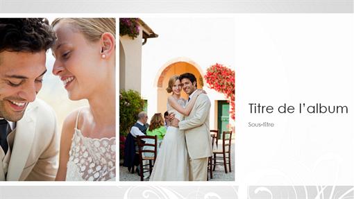 Album photo de mariage, modèle baroque argent