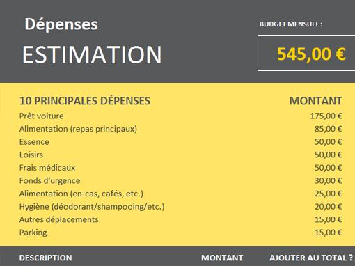 Estimation des dépenses pour les études supérieures