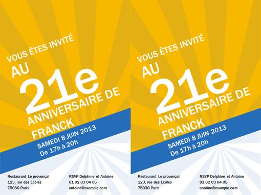 Invitations d'anniversaire (rayons dorés)