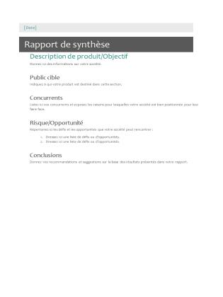 Rapport de synthèse