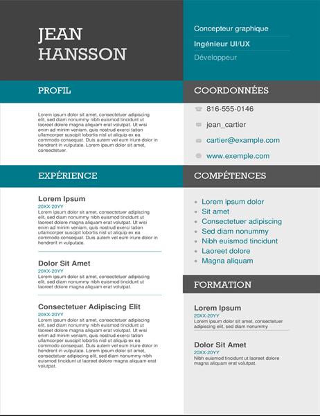 CV bloc de couleur