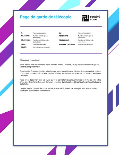 Page de garde de télécopie graphique violet