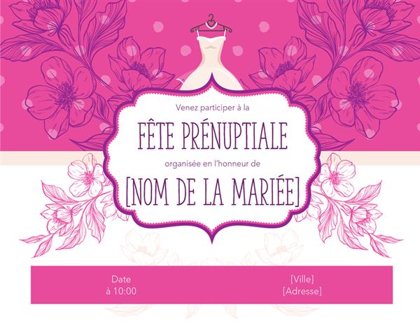 Invitation à une fête fleurie en l'honneur d'une future mariée