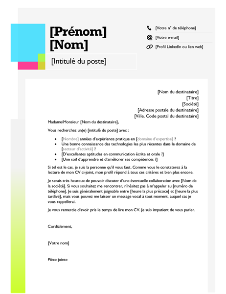 Lettre de motivation pense-bête
