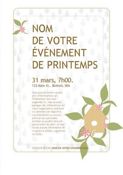 Invitation pour une fête de printemps