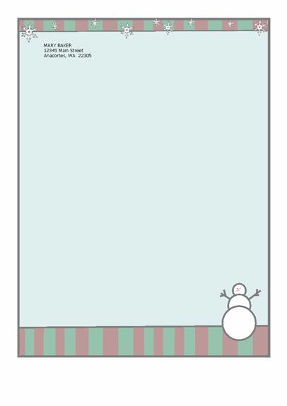 Papier à lettres de fêtes (avec bonhomme de neige)
