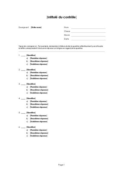 Questionnaire à choix multiple (3 réponses)