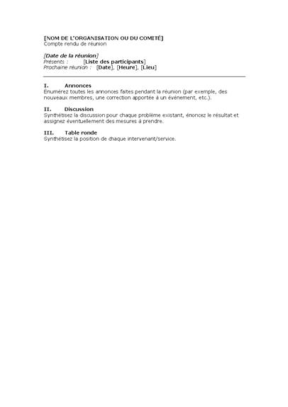 Compte-rendu d'une réunion professionnelle (formulaire court)