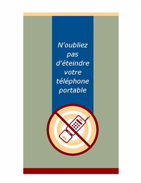 Demande d'éteindre les téléphones portables