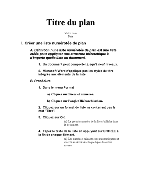 Plan en cinq parties avec instructions