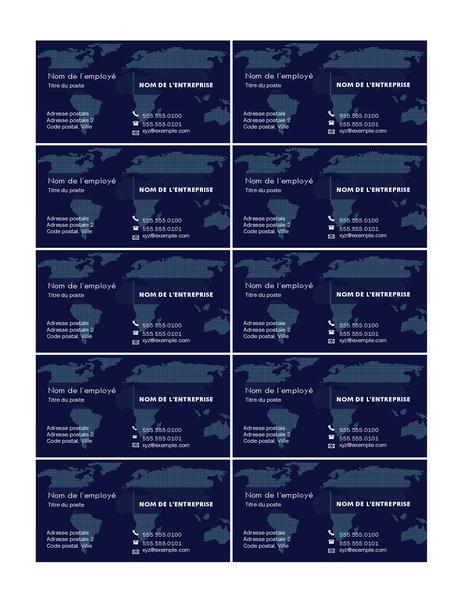 Carte de visite avec situation géographique