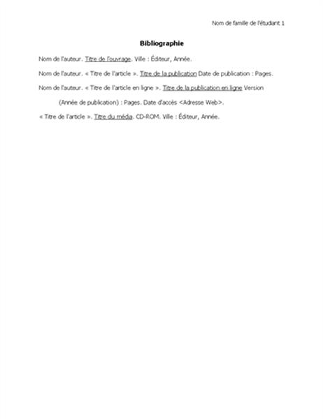 Bibliographie au format MLA