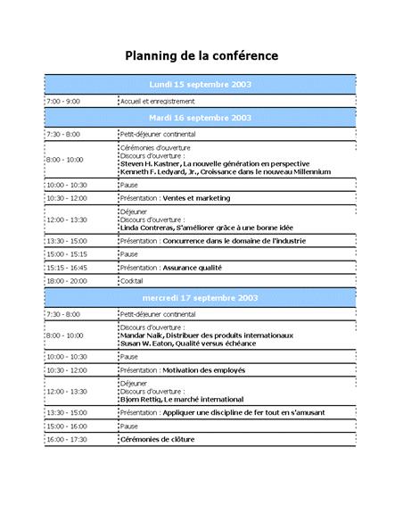 Ordre du jour d'une conférence