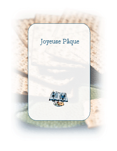 Carte de la Pâque (pain azyme en illustration)