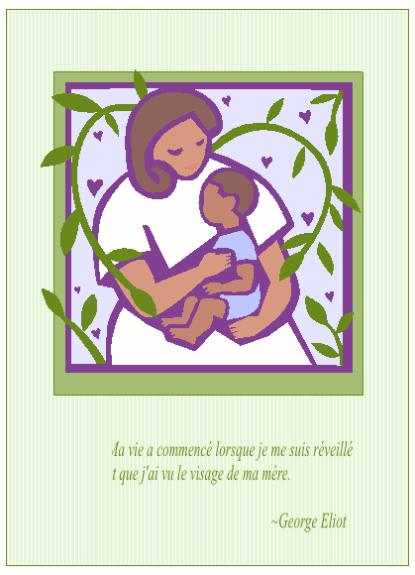 Carte de fête des mères (avec mère et bébé)