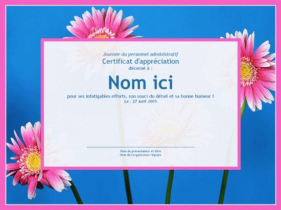 Certificat pour personnel administratif (arrière-plan photo)