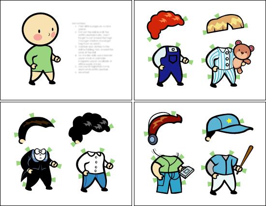 Poupées en papier (garçon, ensemble3)