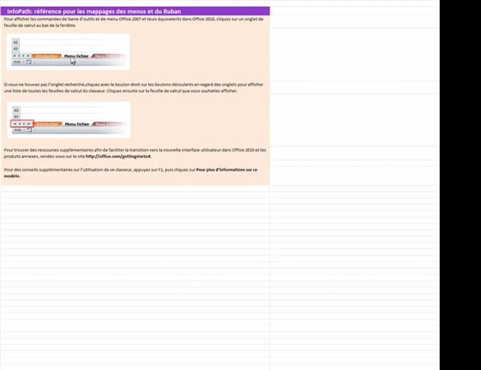 InfoPath 2010: classeur de référence pour les mappages des menus et du Ruban
