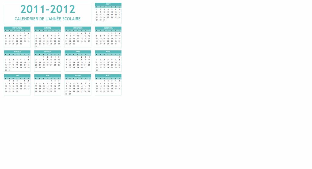 Calendrier scolaire 2011-2012 (Lun-Dim)