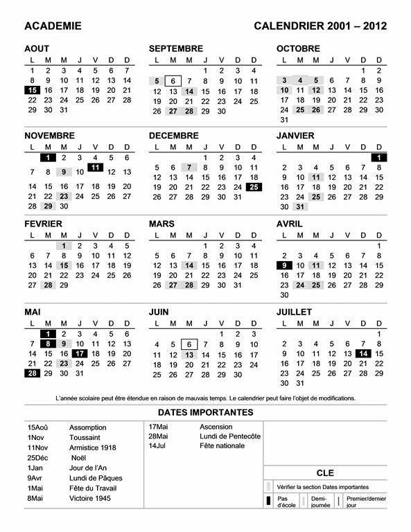 Calendrier scolaire 2011-2012 par zone (Lun-Dim)