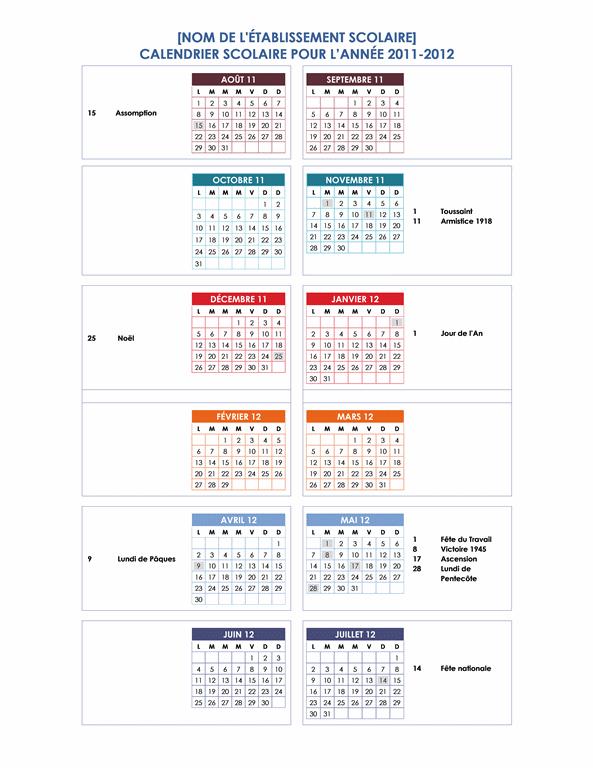 Calendrier de l'année scolaire 2011-2012 (1page, Lun-Dim)