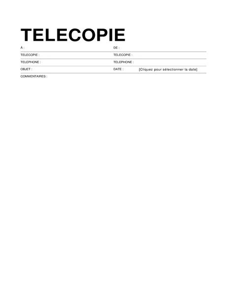 Page de garde de télécopie (format standard)