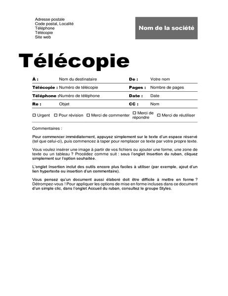 Page de garde de télécopie (thème professionnel)