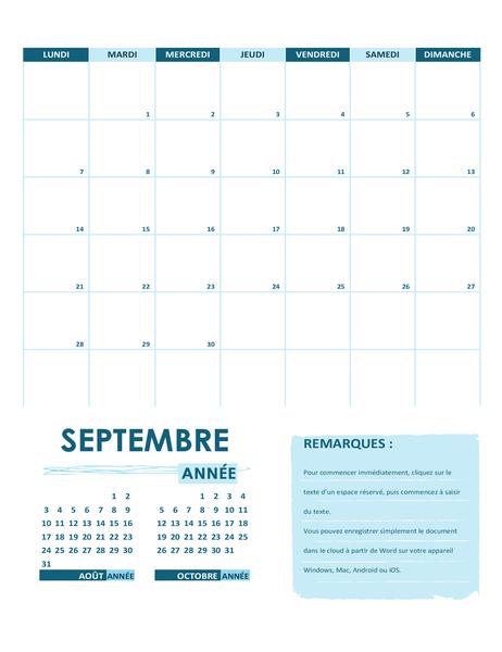 Calendrier scolaire (un mois, annuel, début de la semaine le lundi)