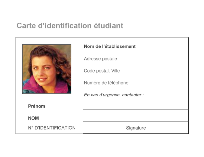 Carte d'identification étudiant