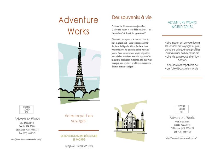 Brochure de voyage (8 1/2 x 14, paysage, pliable en 4 parties)