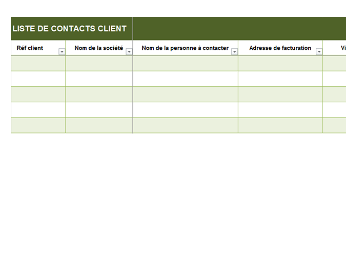 Liste de contacts client de base