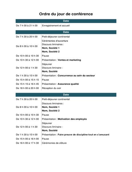 Ordre du jour de la conférence