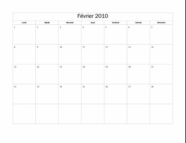 Calendrier 2010 (modèle de base, lun-dim)