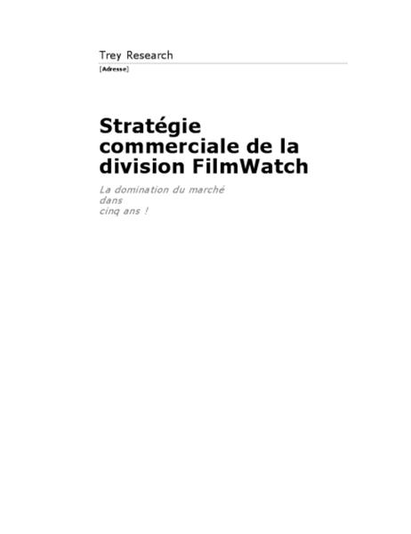 Rapport commercial (thème Contemporain)