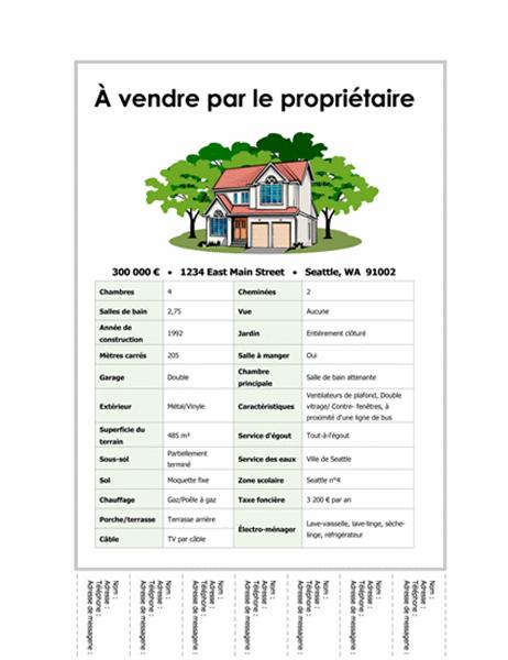 Affichette Maison à vendre avec informations détachables