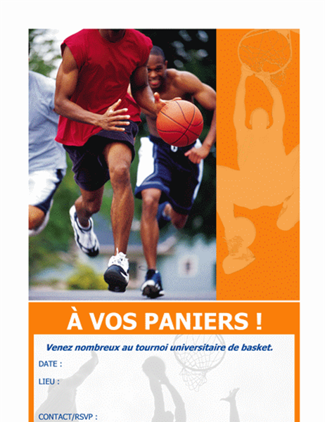 Carton d'invitation à une fête du basket