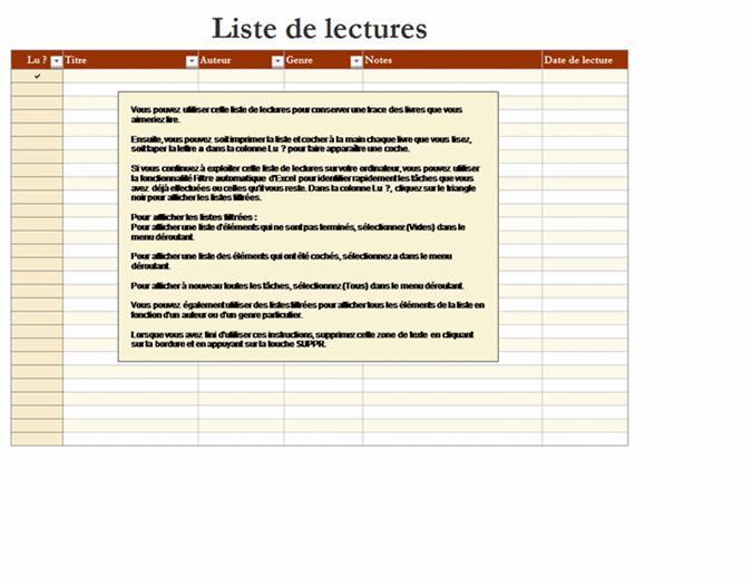 Liste de lectures