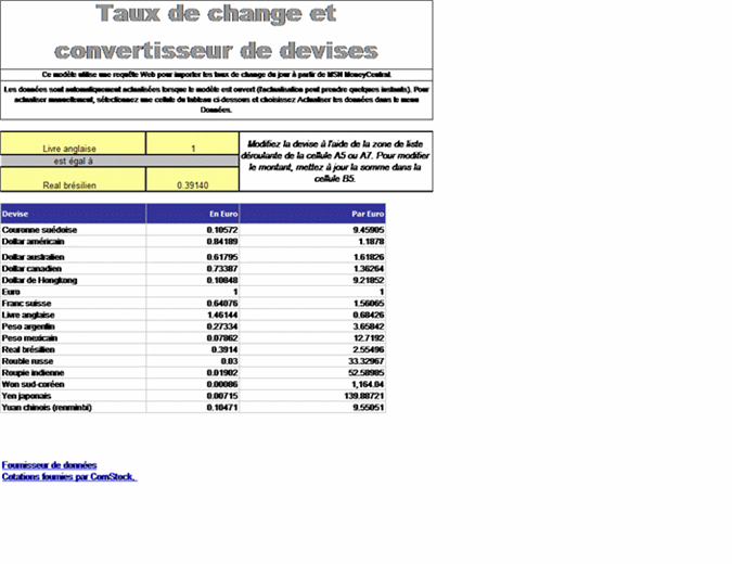 Calculateur de taux de change
