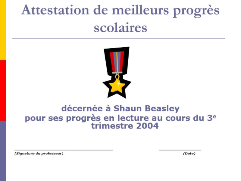 Prix de l'élève qui a fait le plus de progrès