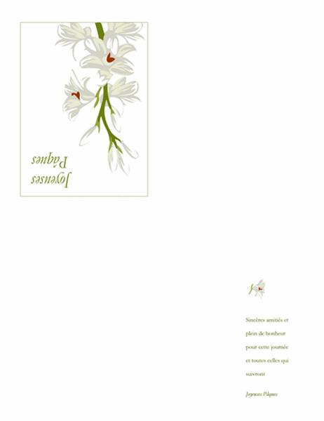 Carte pour Pâques (fleurs en illustration)