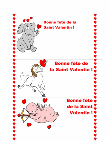 Carte pour la Saint Valentin (3 pages)
