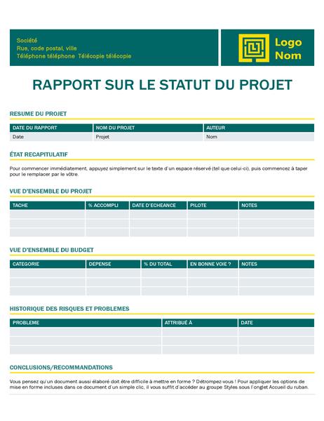 Rapport d'état de projet