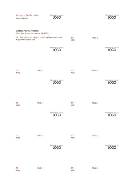 Cartes de visite, mise en page horizontale avec logo, texte aligné à gauche